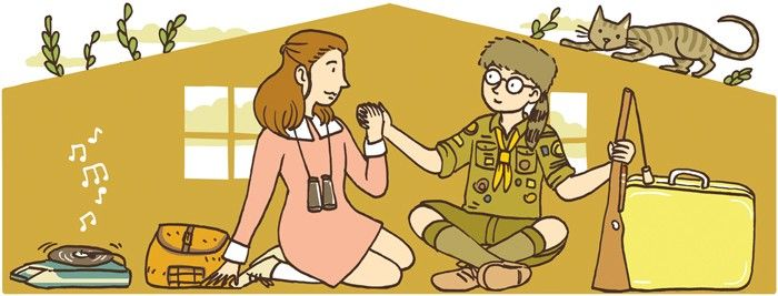 """The New Yorker / Moonrise Kingdom (2012) Illustration forThe New Yorker. Mar. 26, 2012  The subject is the movie """"Moonrise Kingdom"""" byWes Anderson."""