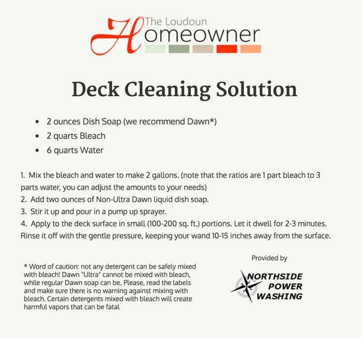 A home exterior and deck cleaning solution from power washing company! These simple ingredients will zap the mold and make your porch look new again!
