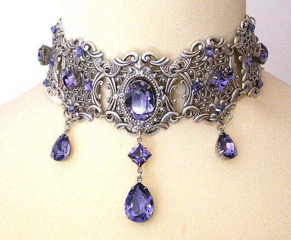 Tanzanite Swarovski Crystal Choker   Victorian by LeBoudoirNoir, €140.00