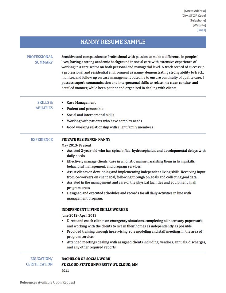 Nanny Resume Example  Resume Examples And Free Resume Builder