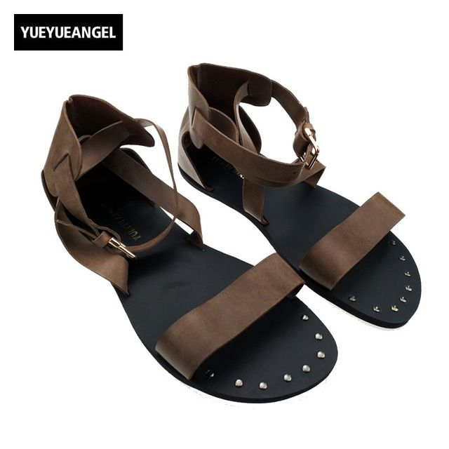 Check it on our site  Roman Mens Shoes Vogue Fashion Buckle Hollow out Strap Gladiator Flats Shoes For Man Leather Sandals Studded Shoes Punk just only $54.64 with free shipping worldwide  #menshoes Plese click on picture to see our special price for you