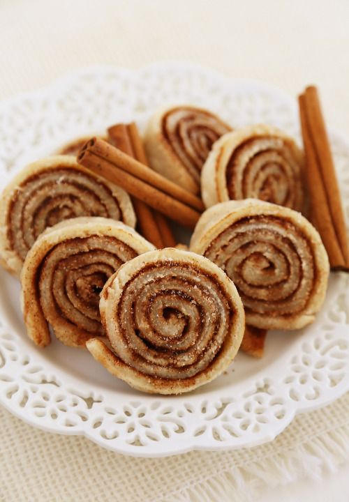 "Piecrust Pinwheel Cookies - Super easy, just roll out a Pie Crust on a sheet pan, butter Crust generously, top with Cinnamon and Sugar, roll up into a tube shape, and chill for a couple of hours. Cut into thin cookies with a sharp knife and bake. Delicious! TIP: You can use a store-bought Pie Crust, but they won't be as flaky.  Great for when the kids say, ""Oh, yeah, I need 3 dozen cookies tomorrow."" ~~ Houston Foodlovers Book Club"