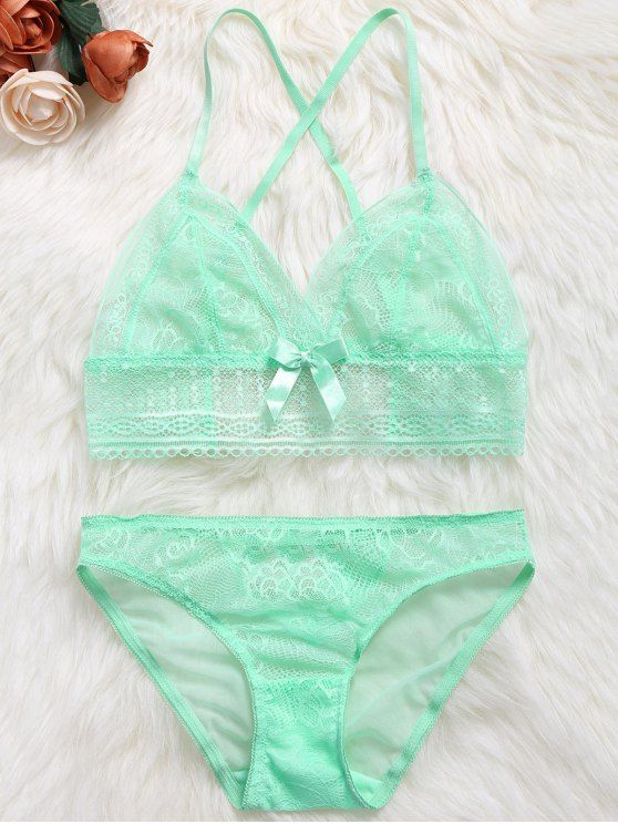 Crossover Lace Unlined Bra Set - GREEN S