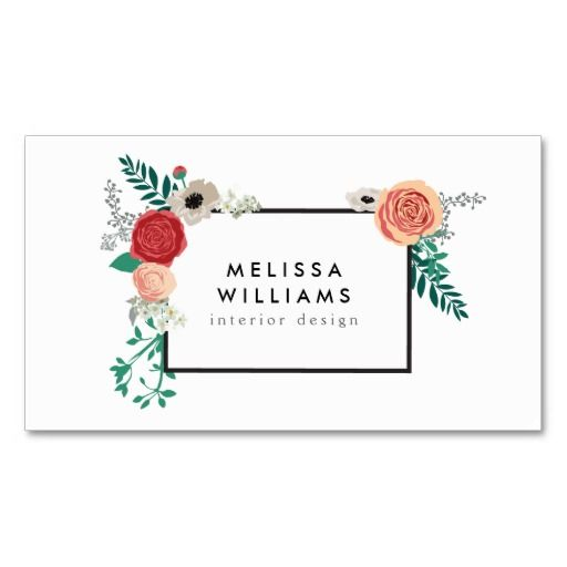 100 best cosmetologist business cards images on pinterest makeup vintage modern floral motif on white designer business card reheart Image collections