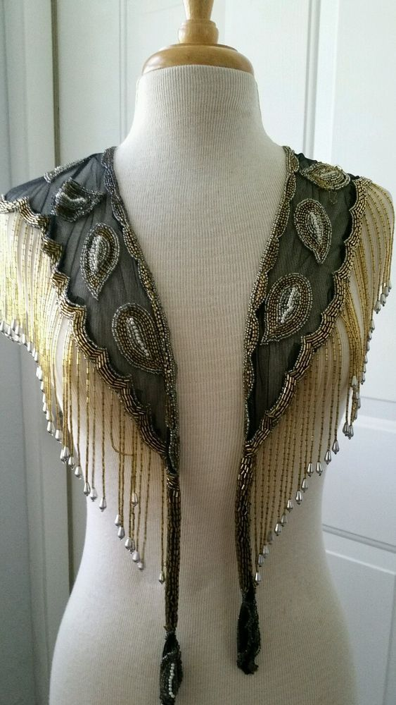 Gorgeous Vtg 80s Beaded Black/Gold Fringe Shawl Collar Capelet Glam Bib Top Cape #Unbranded #Cocktail