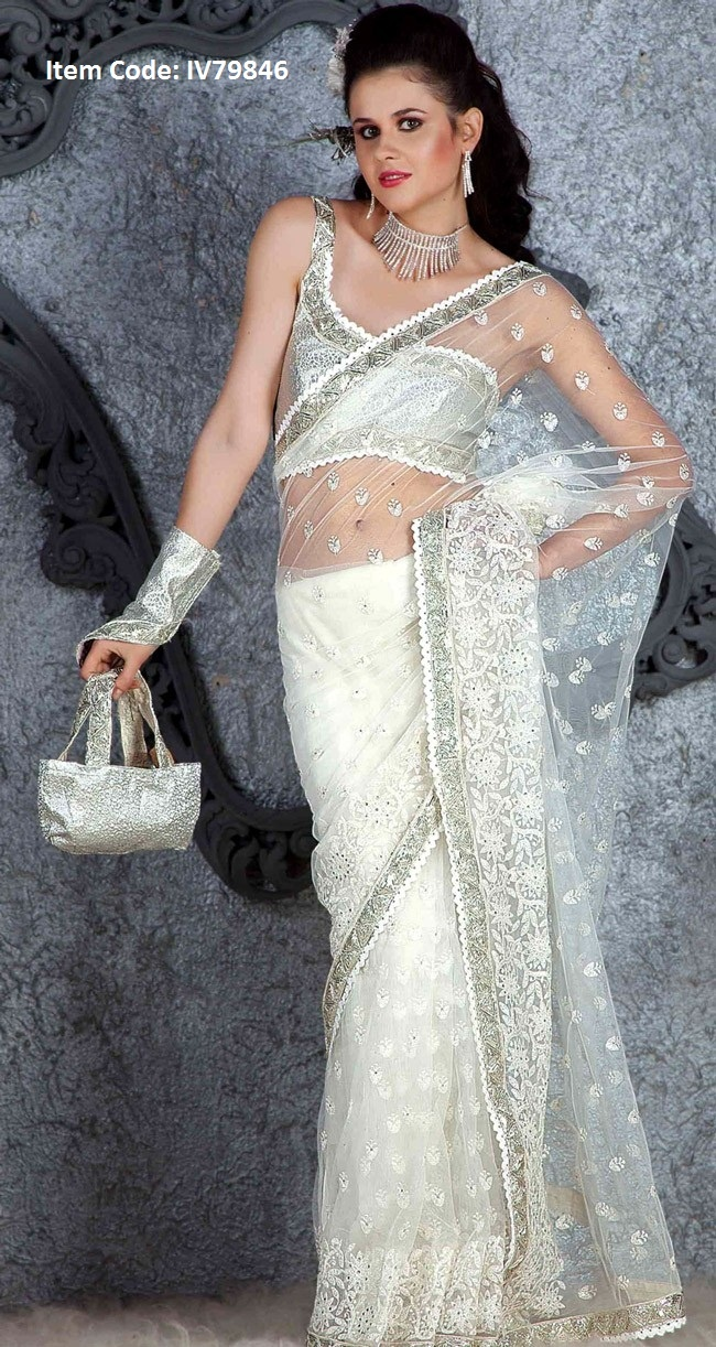 Fascinating Off White Embroidered Saree@US$ 109.96