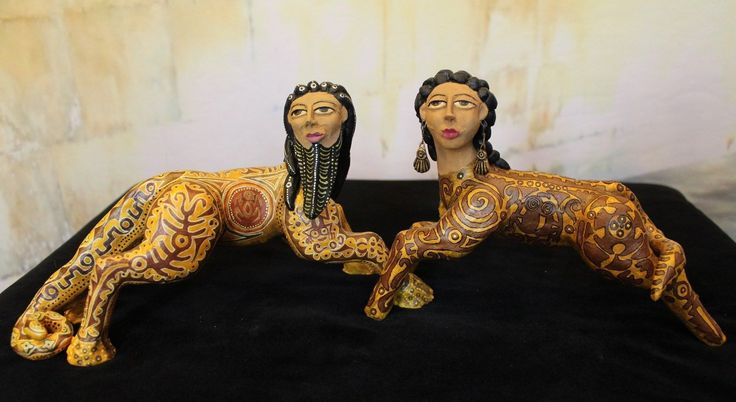 Ancient Assyrian Inspired Male & Female Figures Ceramic Mexican Folk Art Aguilar | eBay