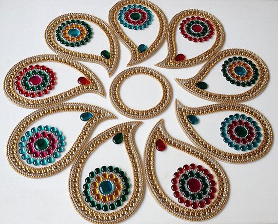 Colorful Indian Rangoli in Paisley for Weddings/Corporate functions/Christams - 10 piece set
