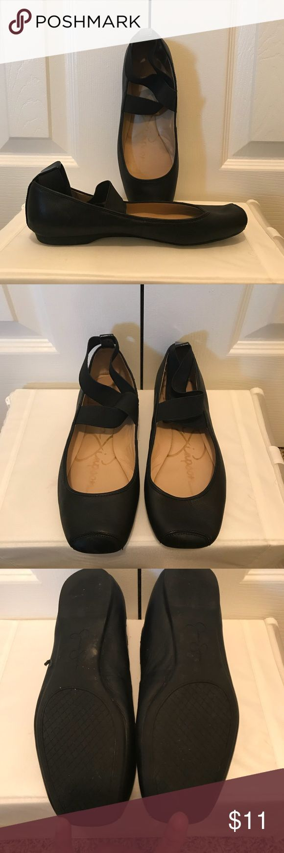 Jessica Simpson ballet flats Cute flats! Worn a couple of times. There is a scuff that scratched off some of the material as pictured. It is on the bottom of the shoe so you can't see it while wearing as shown in the picture after. Jessica Simpson Shoes Flats & Loafers