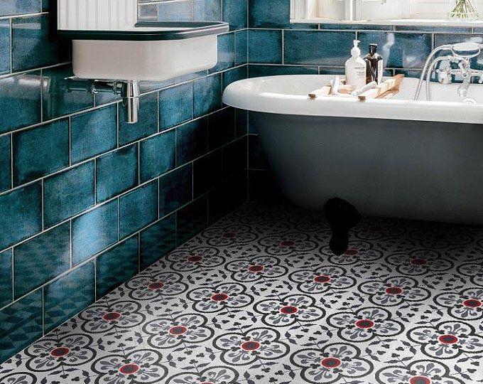 Tile Stickers Tiles For Kitchen Bathroom Back Splash Floor Decals Milano Tile Sticker Pack In Black And White Flooring Floor Decal Kitchens Bathrooms