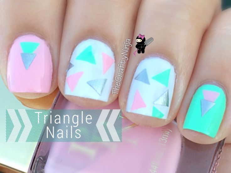 If you are bored with plain nail art, would you like to try geometric shaped nail art? It will be a little bit difficult if you are doing it with your free