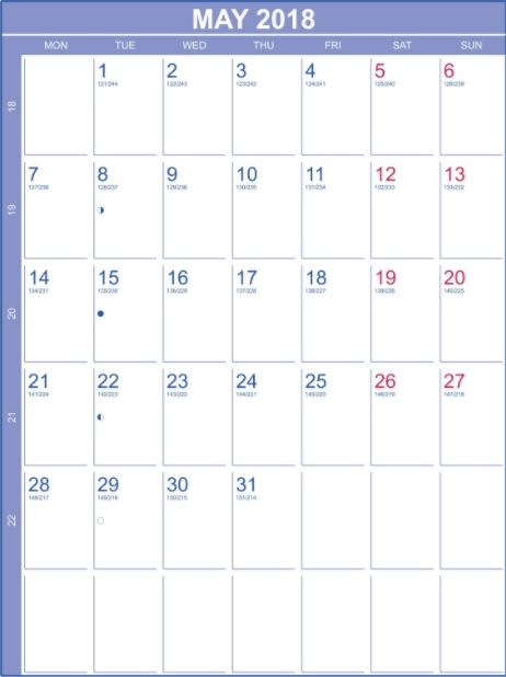 May 2018 Blank Calendar Portrait Template MaxCalendars Monthly