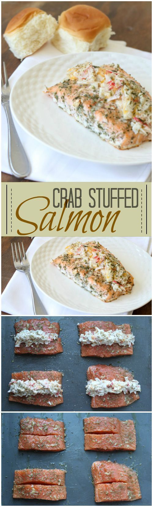 Baked Salmon with a Parmesan Crab and Cheese filling. http://ValentinasCorner.com