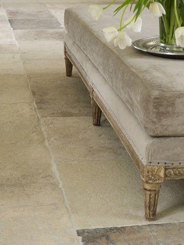 Limestone floor with underfloor heating