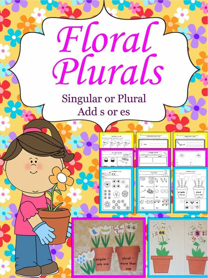 Practice the meaning of singular and plural and adding s or es to form plural nouns with this flower-themed packet that includes 2 center activities plus practice pages. Printable answer keys for the centers and pages are also included.