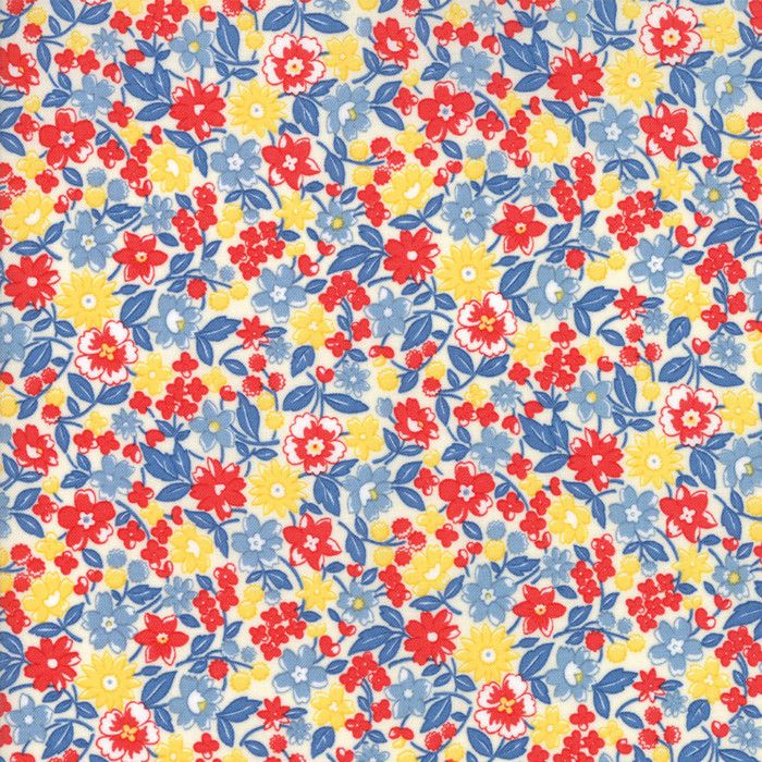 """""""Multi""""-Floral Kids Bloomin Bouquet Sky 30's Playtime 2017 by Chloe's Closet for Moda"""