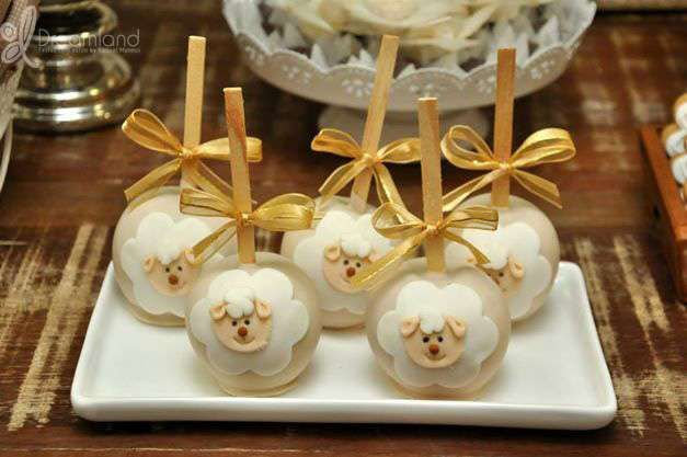 Cute candy apples at a lamb baptism party! See more party planning ideas at CatchMyParty.com!