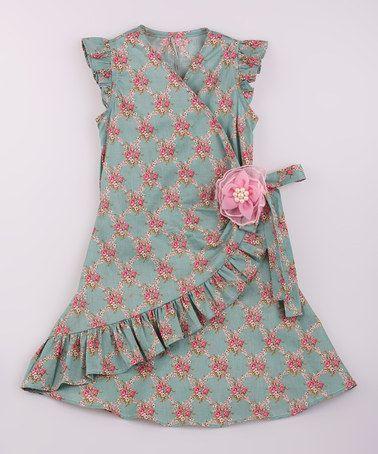 Love this Pink & Green Ruffle Wrap Dress - Toddler & Girls on #zulily! #zulilyfinds