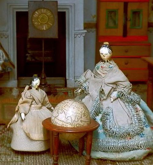 Two early Grodnertal Dolls. Doll House Sized.