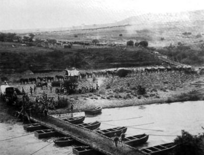 After three successive failures to break through the Boer lines over the past few months, the British again made a thrust for Ladysmith, crossing the Tugela River on this pontoon bridge erected on Feb. 21st, 1900. (McGregor Museum)