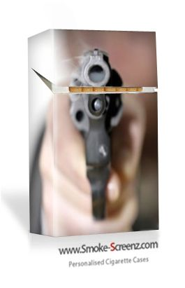 Be careful not to shoot yourself! Cigarette cover for a cigarette pack from www.smoke-screenz.com
