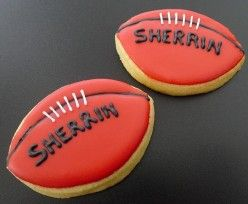cute cookie idea for a footy birthday party. AFL Sherrin footballs.