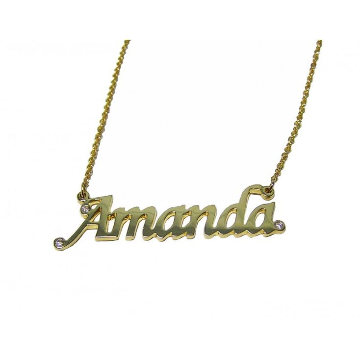 Yellow gold Name Necklace with A Diamond.  Very pretty and personal.  Perfect for a gift.  For more necklaces go to http://www.jewelleryexpress.com.au