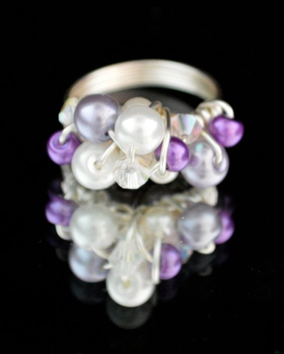 Purple Hot Mess Wire Wrapped Crystal & Pearl Ring by DizzleDesigns