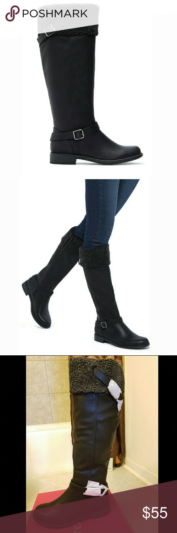 Womens Riding Boots Faux Shearling Cuff Black Boots with Buckle Detail Shoes Winter & Rain Boots