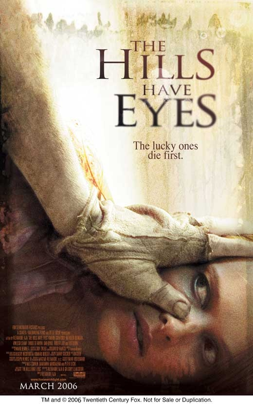"""""""The Hills Have Eyes"""" was Released on March 10th, 2006  There are both female and male actors whom are """"prey"""" in this film. Why is there a women being forcefully held down as the film cover?"""