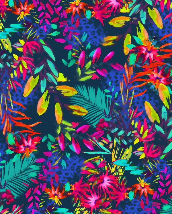 Tropical/jungle exotic floral leaf all over print