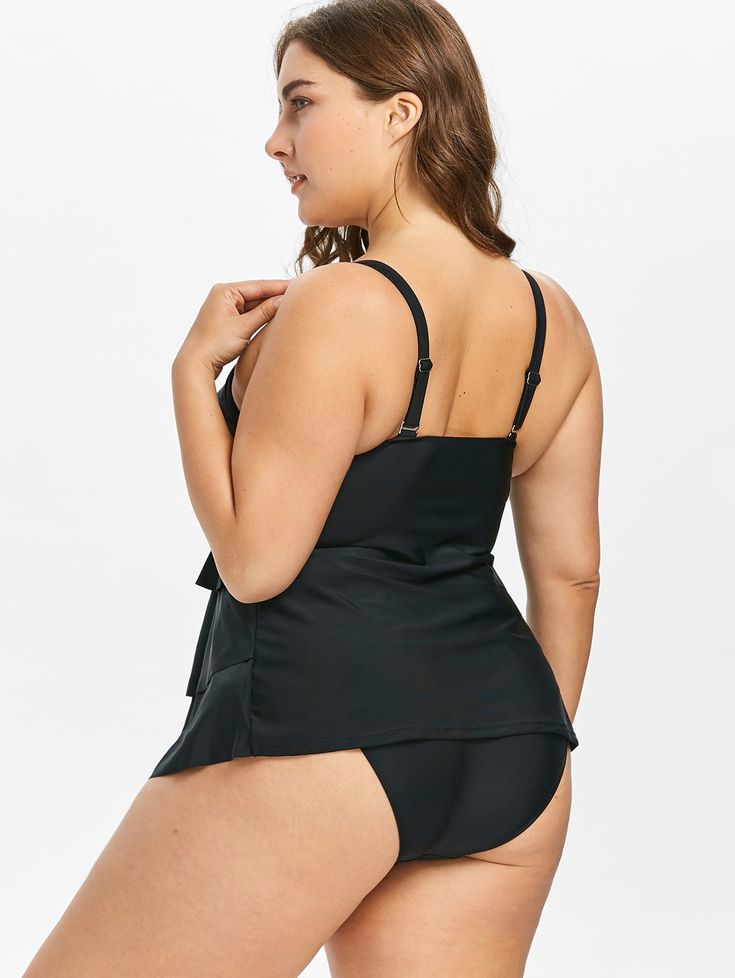 Plus Size Layered Cami Tankini Set