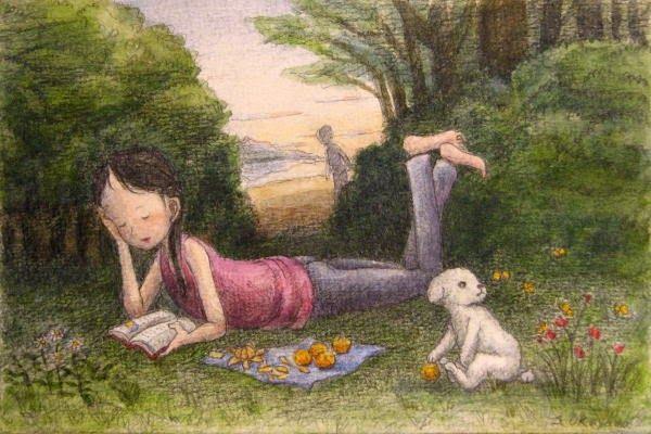 Pinzellades al món: Els xiquets lligen en el bosc / Los niños leen en el bosque / Children read in the forest