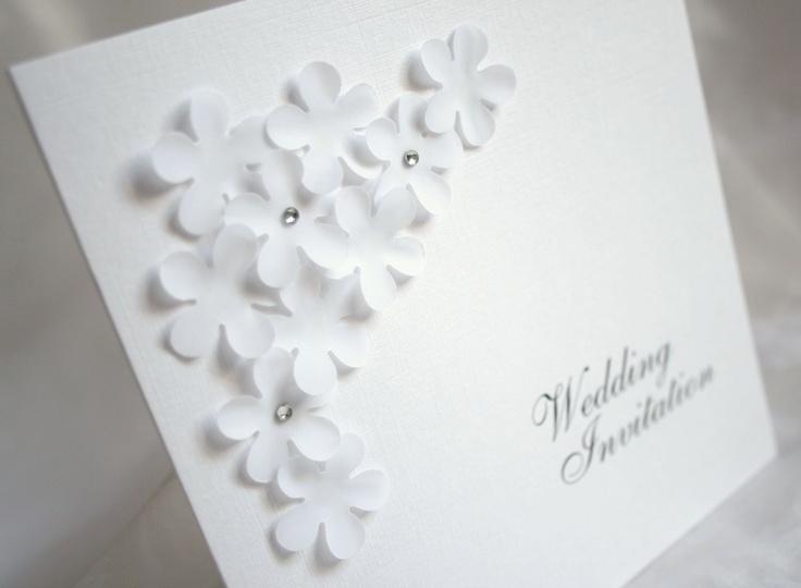 Wedding Invitations Handmade Ideas: Layered Flowers Elegant Wedding Invitation/Personalised