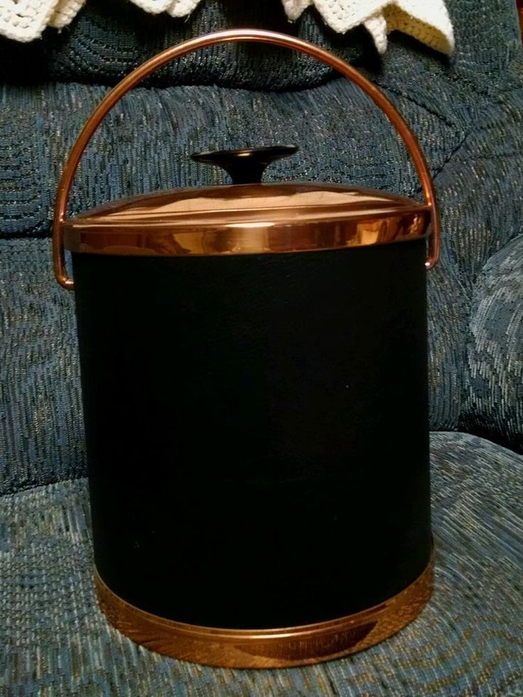 Vintage Coppercraft Guild Ice Bucket Made in the USA Faux Black Leather Skin