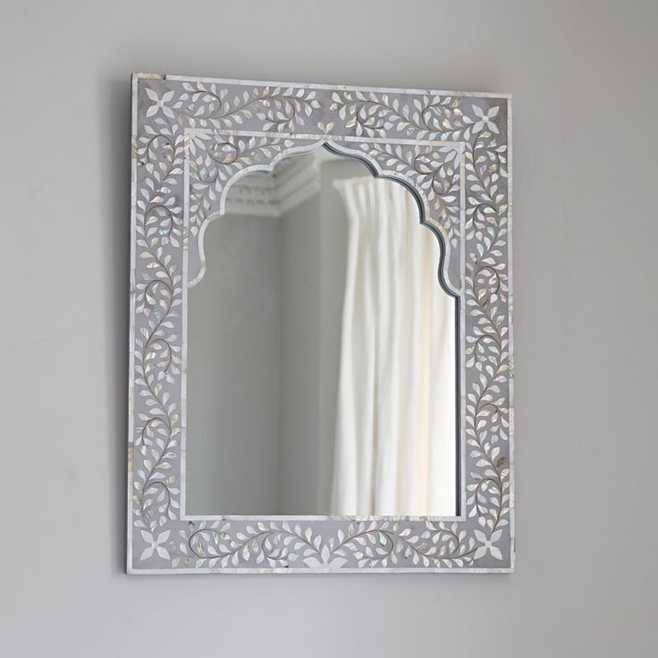 Kasbah Mother of Pearl Wall Mirror in Steeple Grey Atkin & Thyme £189