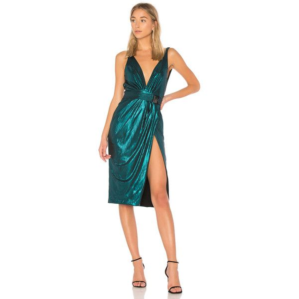 Zhivago After Dark Dress ($350) ❤ liked on Polyvore featuring dresses, dark dress, metal dress, metallic cocktail dress, metallic dress and front slit dress