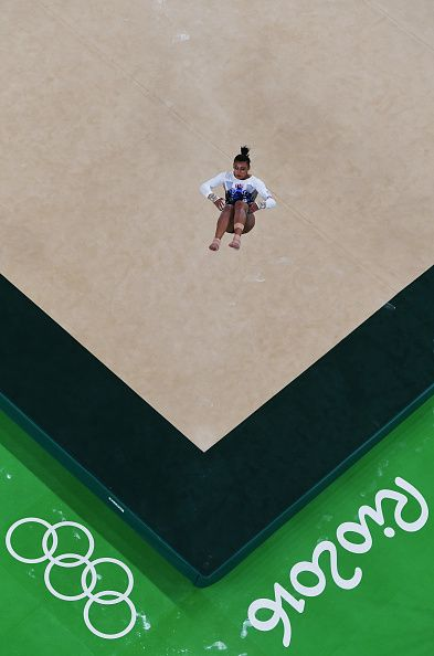 #RIO2016 Elissa Downie of Great Britain competes on the floor during the Artistic Gymnastics Women's Team Final on Day 4 of the Rio 2016 Olympic Games at the...