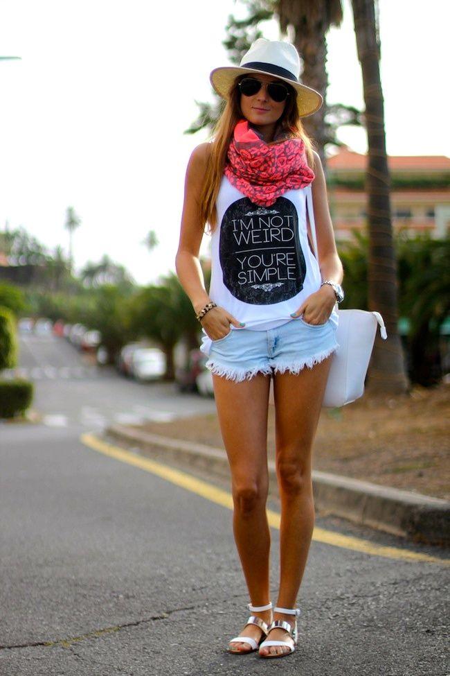 graphic tank + jean shorts + scarf + panama hat + flat sandals