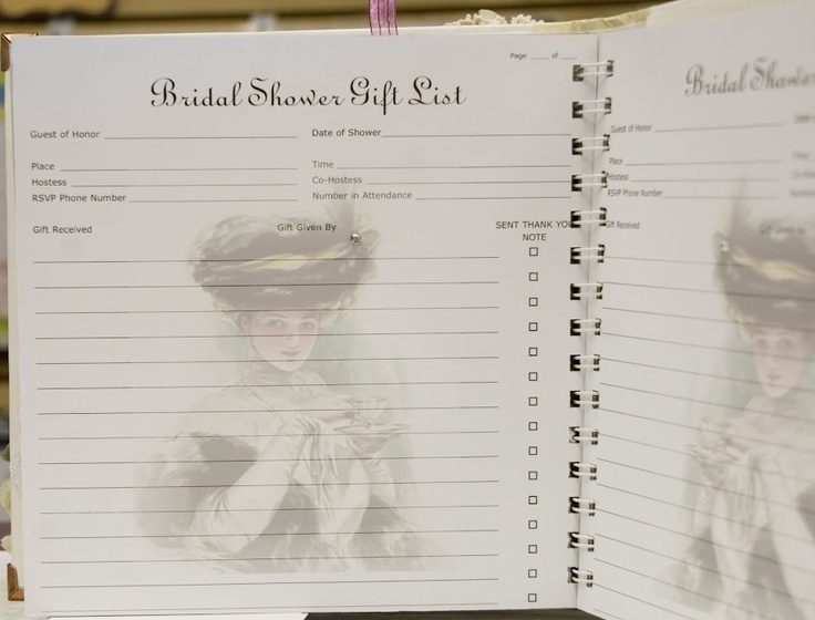 Wedding Gift Journal Suggestions : Tea Cup Shower Book. The last pages were recording the gifts received ...