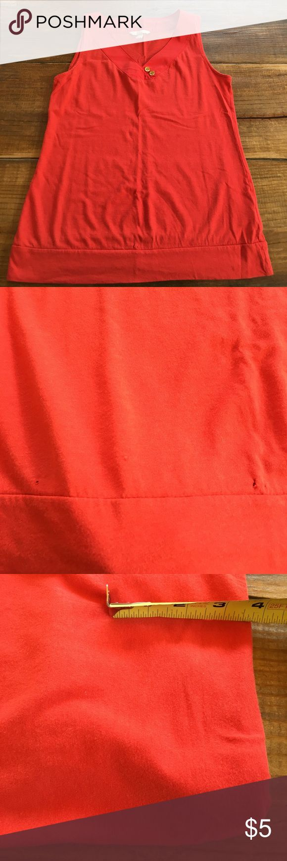 📌Clearance📌 Banana Republic Orange Top Free with purchase of any item in my closet. 1 free item per order/bundle or purchase for the price marked. There are small holes on the bottom & a small stain as shown. Could easily be sewn up. I did not know of stain previously so it could be treated with stain remover/dawn dish detergent seems to work well too. Banana Republic Tops Tank Tops
