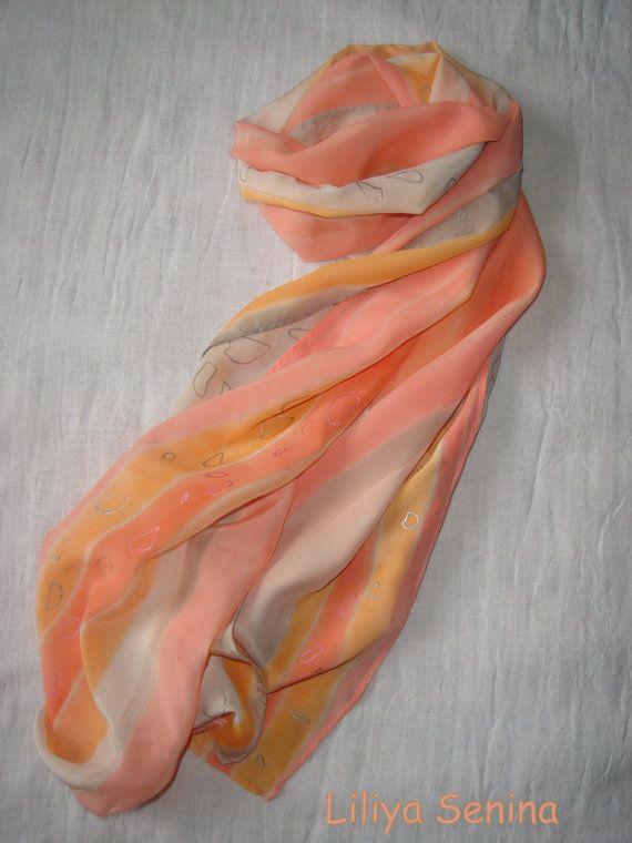 Batik silk scarf Candy by BatikByLiliyaSenina on Etsy, $40.00