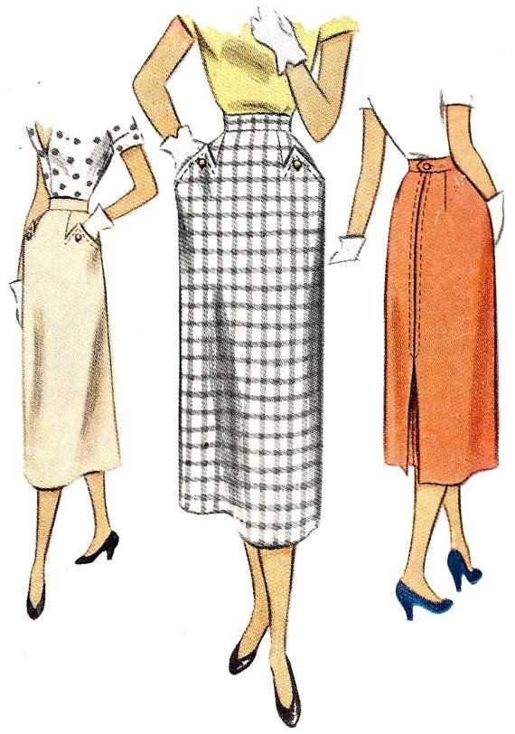 1950s Misses Straight Skirt Vintage Sewing Pattern, Office Fashion, McCall 8159 Waist 24 via Etsy