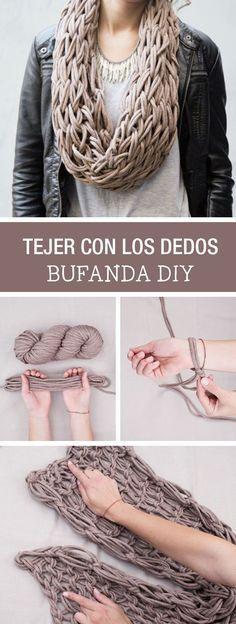 Tutorial DIY - CÓMO TEJER UN CUELLO DE TRAPILLO CON LOS DEDOS en DaWanda.es
