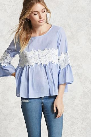 Forever 21 Contemporary - A woven top featuring a pinstriped pattern, crochet inserts, round neckline, 3/4 bell sleeves, button keyhole back, and a flared hem.