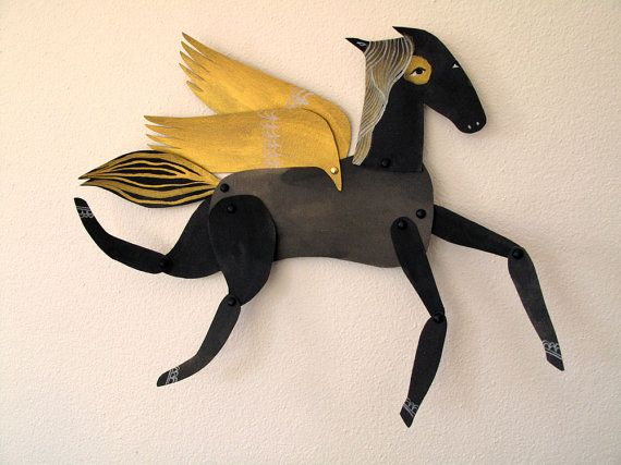 Licorice / Winged Black and Gold Horse by benconservato on Etsy