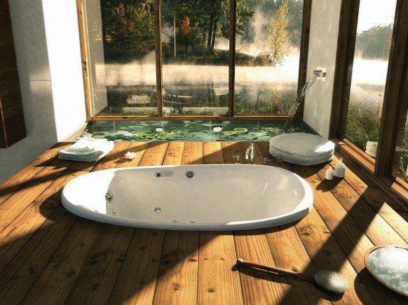 Доброе утро ☀Начнем прекрасный день четверга с новых идей! Необычное размещение ванны  А Вам нравится? #ИдеиДляВдохновения #смесители #сантехника #дизайн #ванна