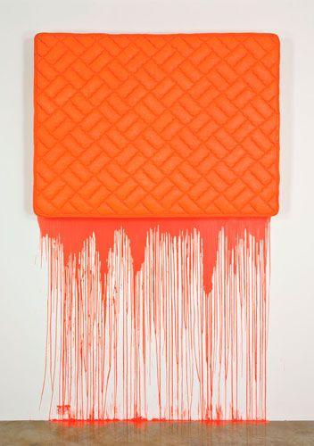 Jim Lambie - Tangerine Dream (2004, Mattress and paint)
