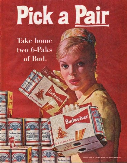 """1961 BUDWEISER BEER vintage magazine advertisement """"Pick a Pair"""" ~ Pick a Pair - Take home two 6-Paks of Bud - Annheuser-Busch ~"""