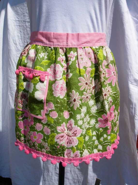 Vintage Apron with Pom-Pom Trim